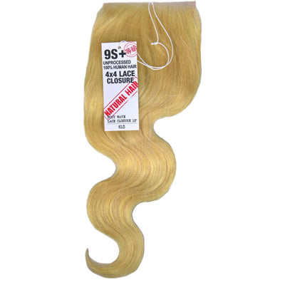 Divatress 9S+ Unprocessed Human Hair 4 x 4 Lace Closure – Body Wave 12""