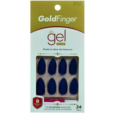 GoldFinger By Kiss Gel Glam Nails – GFC03 (Matte Navy Blue)