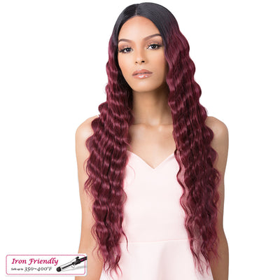 It's A Wig! Synthetic 5G Transparent Lace Front Wig - HD Lace Crimped Hair 4