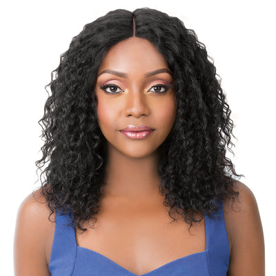 It's A Wig! Wet & Wavy Human Hair Swiss Lace Front Wig - Bohemian Wave
