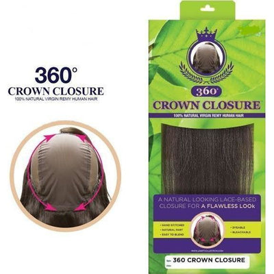 Janet Collection Natural Virgin Remy 360° Closure – Crown Closure