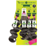 "Janet Collection Virgin Remy Human Hair Weave & Closure – Natural Body 3PCS + 4"" x 4"" Free Part Closure"