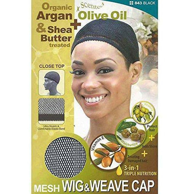 M&M Headgear Qfitt Mesh Wig & Weave Cap w/ Shea Butter & Olive Oil, Black #843