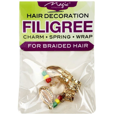 Magic Collection Filigree Tube With Metal Shell Beaded, Assorted #FILICHA12