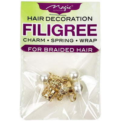 Magic Collection Filigree Tube With Pearl, Gold #FILICHA13