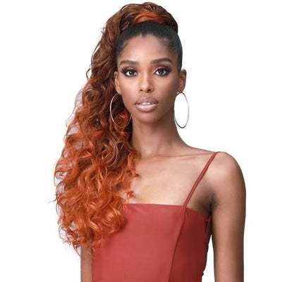 Bobbi Boss Miss Origin Tress Up Human Hair Blend Drawstring Ponytail - Ocean Wave 28""