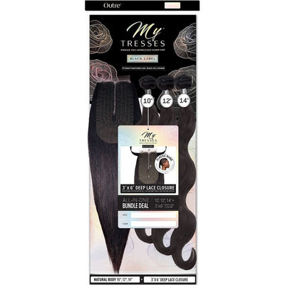 "Outre MyTresses Black Label Unprocessed Human Hair 3"" x 6"" Deep Lace Closure Bundle Weave – Natural Body"