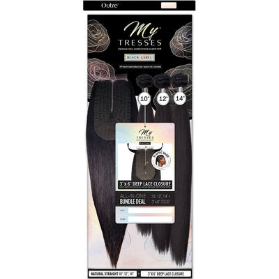 "Outre MyTresses Black Label Unprocessed Human Hair 3"" x 6"" Deep Lace Closure Bundle Weave – Natural Straight"