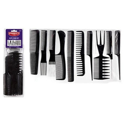 Red by Kiss Professional 10-Piece Comb Set Black #CMB24