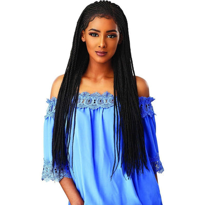 Sensationnel Cloud 9 Hand-Braided Synthetic Swiss Lace Wig – Side Part Cornrow