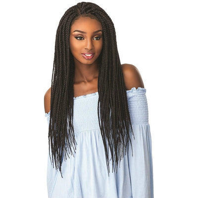 Sensationnel Synthetic Cloud 9 Hand-Tied Parting Braided Swiss Lace Wig – Box Braid Large