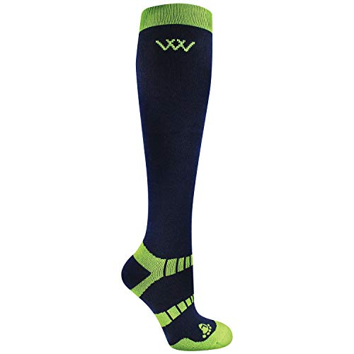 Woof Winter Riding Sock S Navy/Lime 2pk
