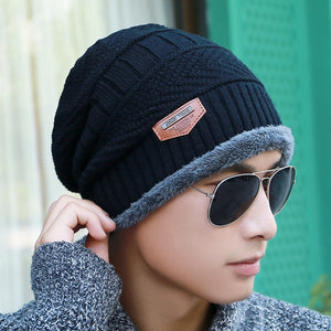 91ee97e586c Men s winter hat 2017 fashion knitted black hats Fall Hat Thick and warm  and Bonnet Skullies Beanie Soft Knitted Beanies Cotton