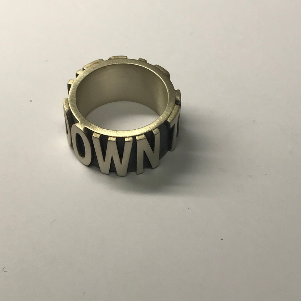 DOWN TO EARTH silver ring