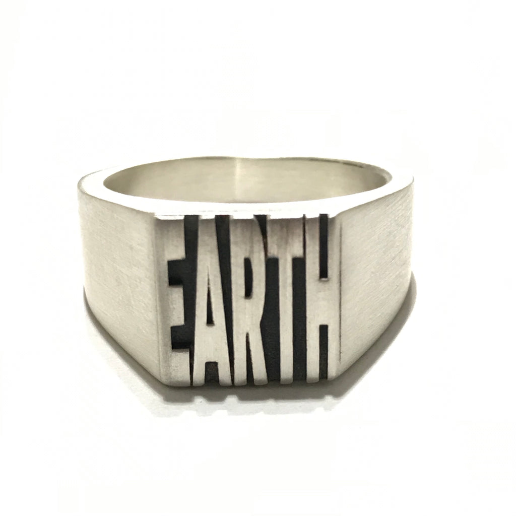 EARTH silver signet ring