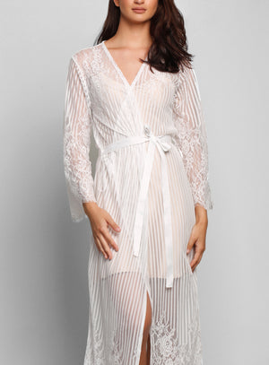 Berson Long Lace Stripe Robe