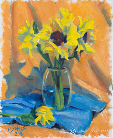 Sunflowers in Clear Vase
