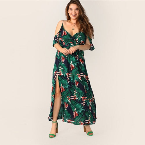 SHEIN Plus Size Multicolor Cold Shoulder Tropical Print Belted Split Maxi Dress 2019 Women Summer Boho Spaghetti A Line Dresses