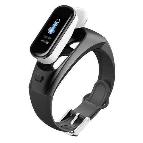 (2 in 1) Smart watch (DETACHABLE) Bluetooth airbuds ear phone (blk usp632)