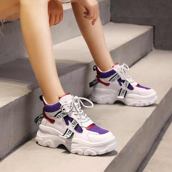 Womens platform chunky workout sneakers casual shoes (whpur)