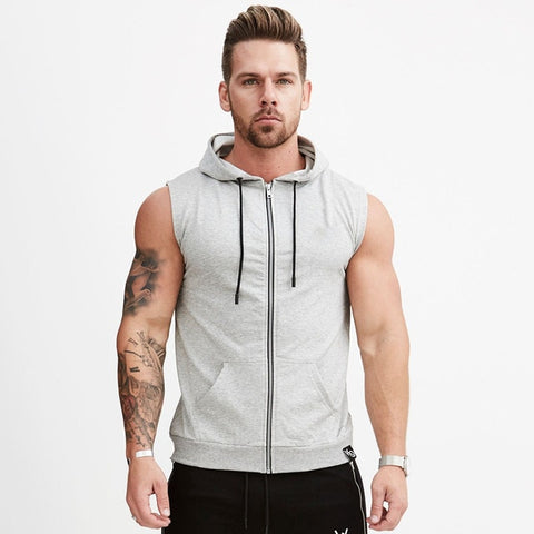 Mens Fitness Sports Workout Gym Exercise Running sleeveless hoodie (gr D145)