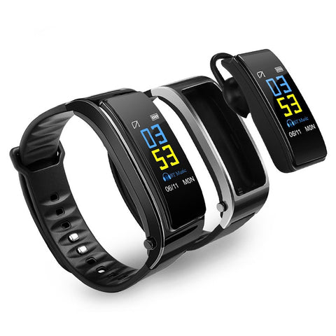 (2 in 1) Smart watch (detachable) bluetooth workout bracelet (blk d00)