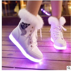 Womens fleece snow boots sneakers casual shoes (wh d00)