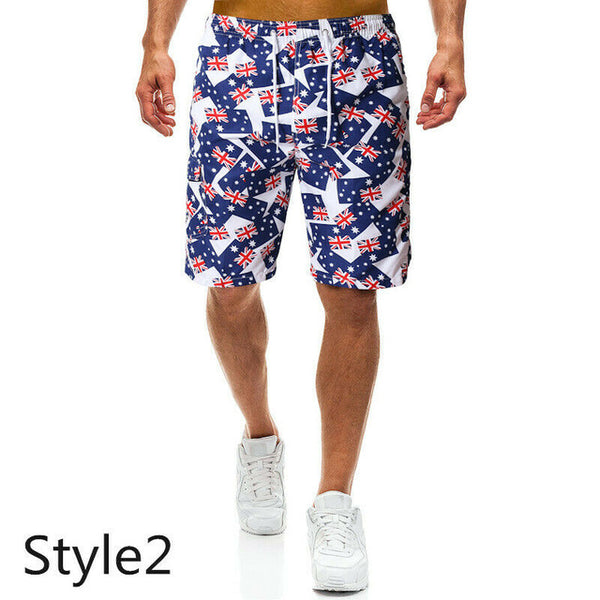 Mens board shorts beach multi-color prints swimming trunks breathable