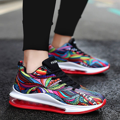Mens totem prints running workout sneakers casual shoes (multi)