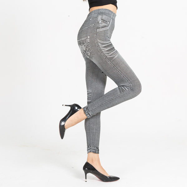 Womens workout FAUX fake jeans PRINTS Yoga Leggings Tights (Lgr D408)