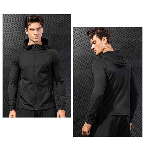 Mens quick dry zipper Workout fitness Gym Exercise Running Hoodie (gr D418)
