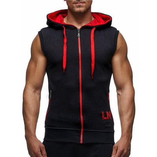 Mens Fitness (Plus S-3XL) Workout Gym Exercise Running Sleeveless Hoodie (grnblk D00)