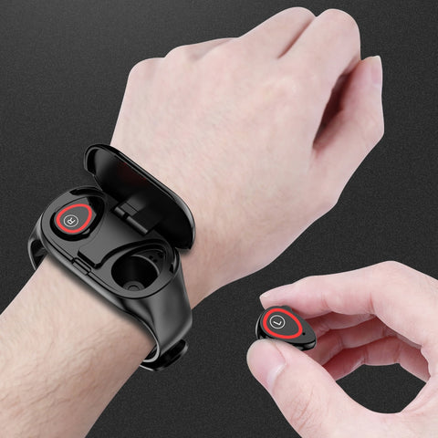 Smart bluetooth 5.0 workout earbuds watch bracelet (blk d00)