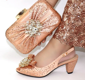 Women heel hand bag purse wedding shoes (grn dexp00)