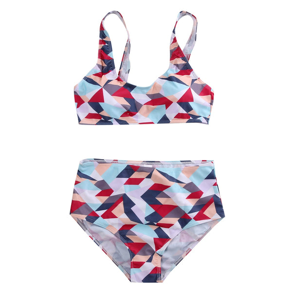 Two piece Women Swimwear Printed bathing suit shapes bathers cute