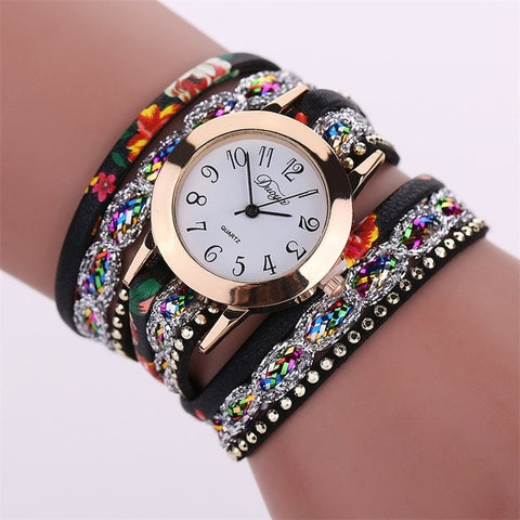 Womens luxury sparkles rhinestones diamonds quartz watch bracelet fashion beautiful (multi)