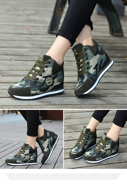 Womens army colour walking boots (grn)