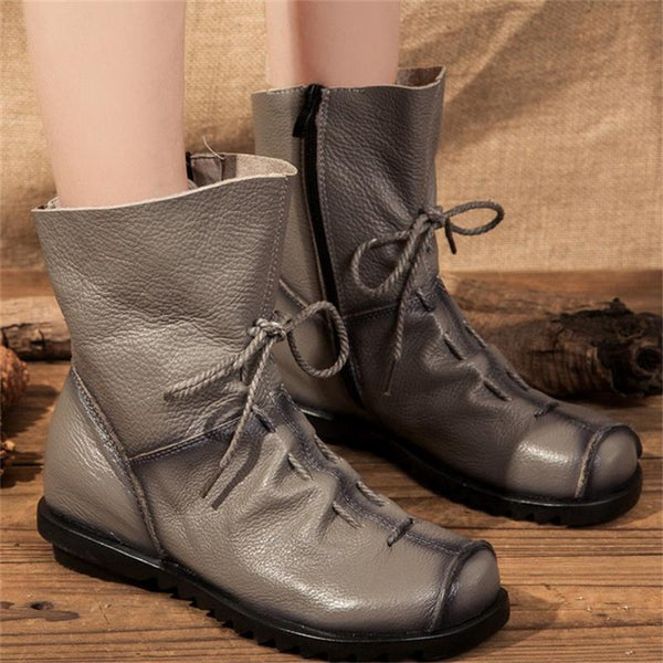 Womens GENUINE cow Leather boots running casual shoes (rblk d00)