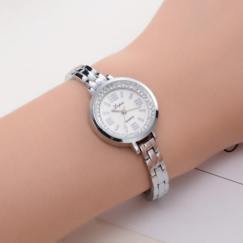Womens luxury rhinestones diamonds stainless steel quartz watch (si d00)