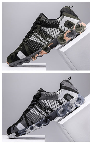 Mens running jogging walking exercise sneakers shoes camouflage (rblkgr)