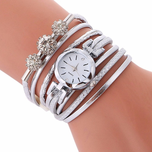 Womens luxury rhinestones diamonds quartz bracelet (rgld d00)