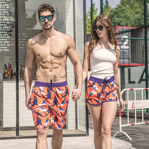 Couples Beach Shorts trunks beachwear swimwear sharks prints (o d00)