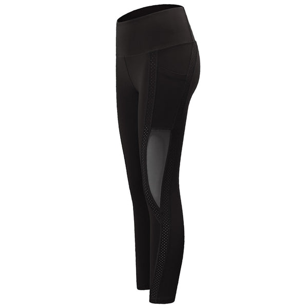 Womens Fitness POCKET leggings tights Gym (bl d182)