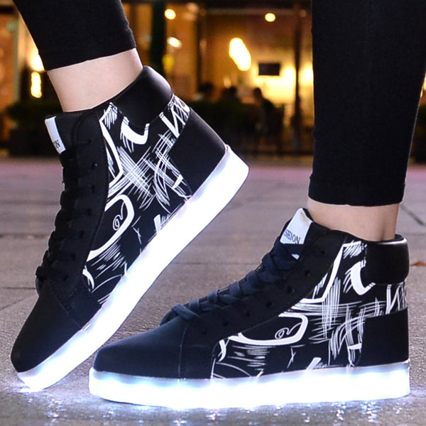 Men Womens unisex usb led light up shoes (blk d00)