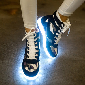 Womens usb led light up khaki boots casual shoes (grn d00)