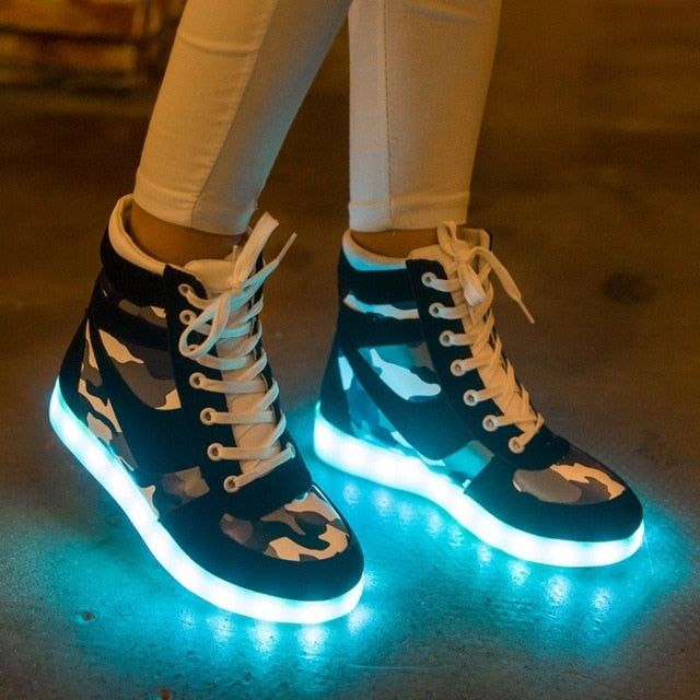 Men Women unisex led light up usb boot shoes (gr d00)