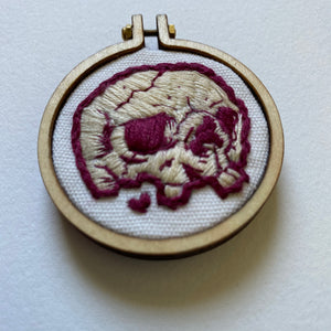 Embroidered Skull Mini (maroon and cream)