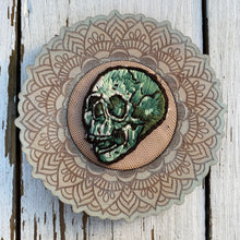 Load image into Gallery viewer, Embroidered Full Green Skull (ornate frame)