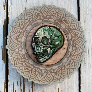 Embroidered Full Green Skull (ornate frame)