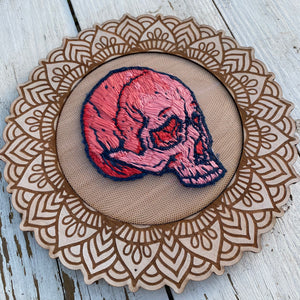 Pink and Blue Embroidered Skull (ornate frame)